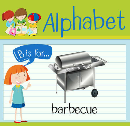 Flashcard letter B is for barbecue illustration