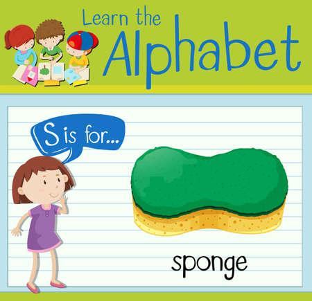 kid s illustration: Flashcard letter S is for sponge illustration