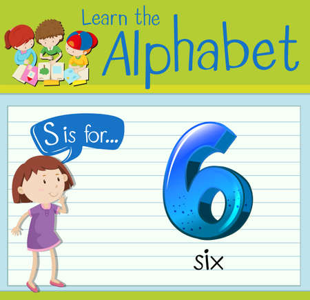 countable: Flashcard letter S is for six illustration