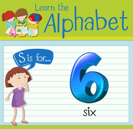 children s art: Flashcard letter S is for six illustration
