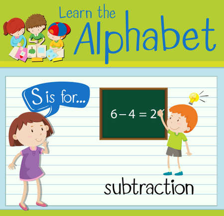 subtraction: Flashcard letter S is for subtraction illustration