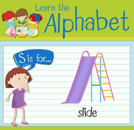 kid s illustration: Flashcard letter S is for slide illustration Illustration