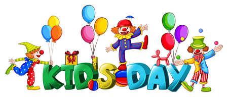 Banner design with word kids day illustration