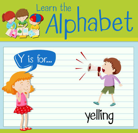 yelling: Flashcard letter Y is for yelling illustration Illustration