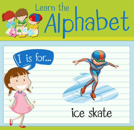 i kids: Flashcard letter I is for ice skate illustration