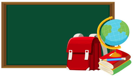 Blackboard and other school objects illustration