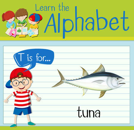 tuna: Flashcard letter T is for tuna illustration Illustration