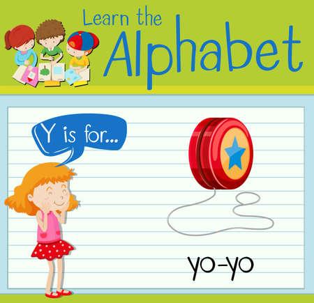 yoyo: Flashcard letter Y is for yo-yo illustration