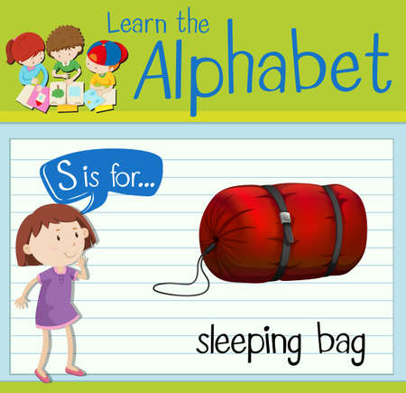 sleeping bags: Flashcard letter S is for sleeping bag illustration