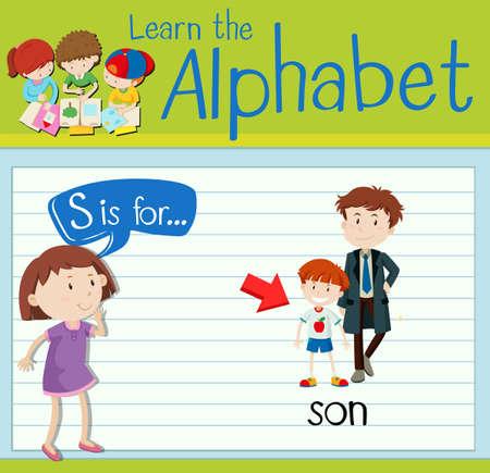 children s art: Flashcard letter S is for son illustration Illustration