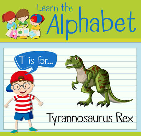 tiranosaurio rex: Flashcard letter T is for tyrannosaurus Rex illustration