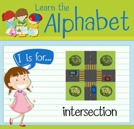 intersection: Flashcard letter I is for intersection illustration Illustration
