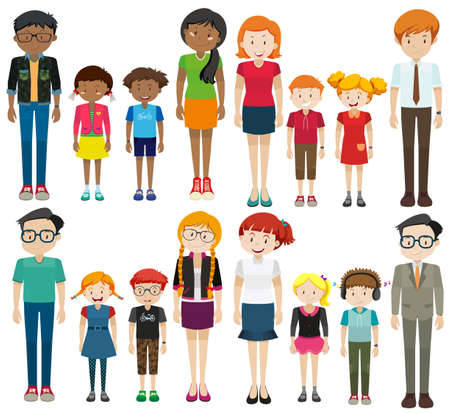 Young and old people on white background illustration