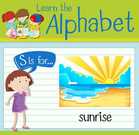 children s art: Flashcard letter S is for sunrise illustration