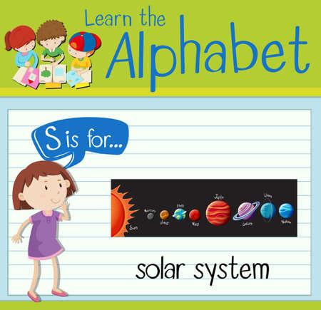children s art: Flashcard letter S is for solar system illustration Illustration