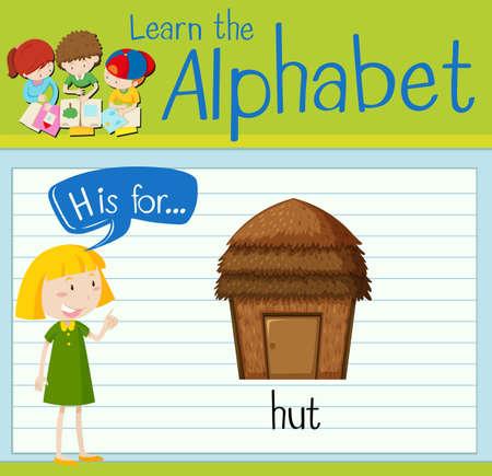 hut: Flashcard letter H is for hut illustration Illustration