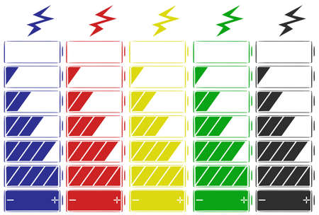 multiple objects: Battery icon in five colors illustration Illustration