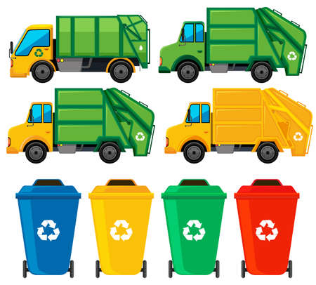 Rubbish cans and trucks illustration