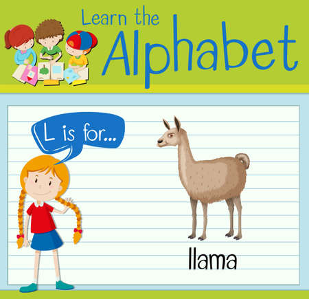 llama: Flashcard letter L is for llama illustration