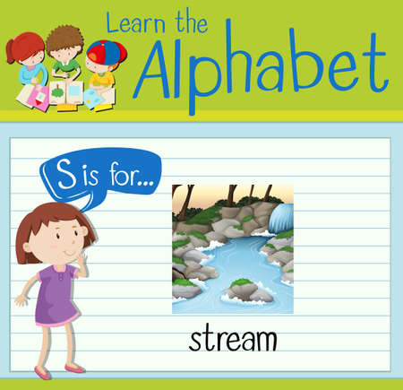 waterfall in forest: Flashcard letter S is for stream illustration