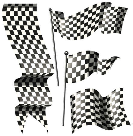 signal pole: Different designs of racing flags illustration Illustration