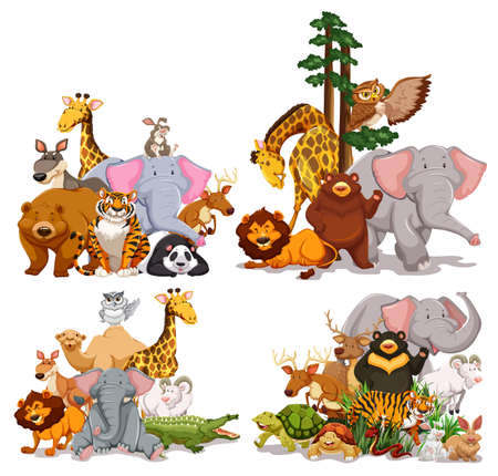 play yoyo: Group of different types of animals illustration