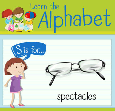 kid s illustration: Flashcard letter S is for spectacles illustration