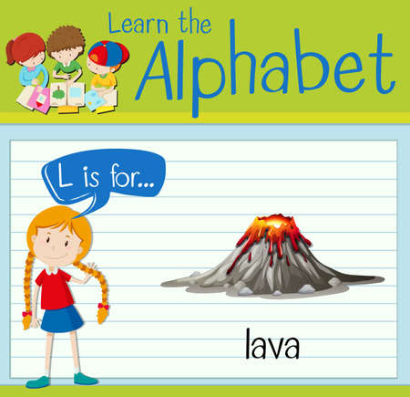 Flashcard letter L is for lava illustration