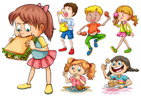 Boys and girls eating different kind of food illustration Stock Illustratie