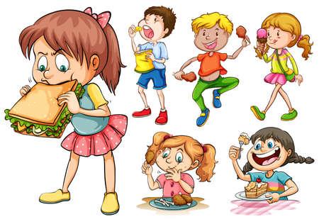 botanas: Los niños y niñas que comen diferentes tipos de alimentos ilustración