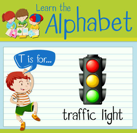 luz roja: alfabeto Flashcard T está para el ejemplo semáforo Vectores