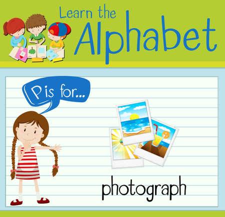 p illustration: Flashcard alphabet P is for photograph illustration