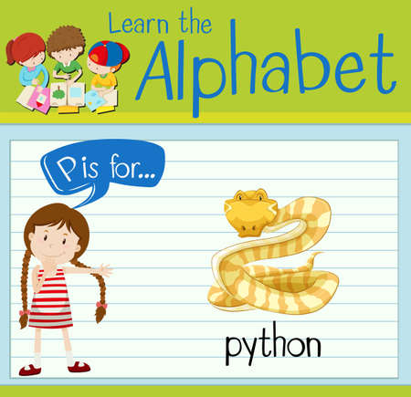 p illustration: Flashcard letter P is for python illustration Illustration