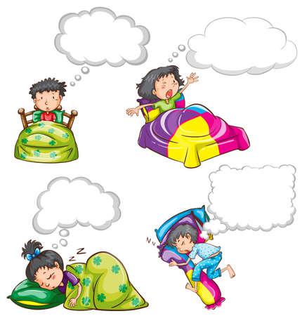 awaken: Kids in bed and dream clouds illustration Illustration