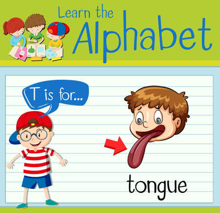 tongues: Flashcard alphabet T is for tongue illustration Illustration