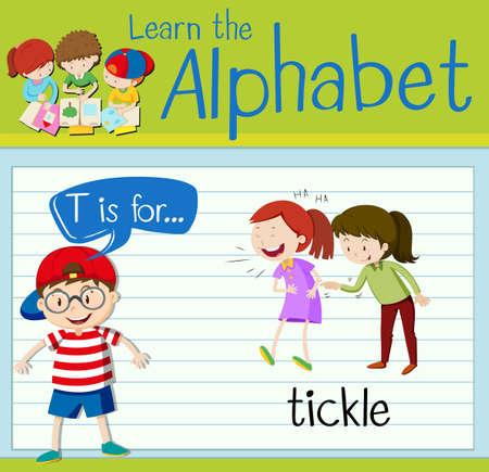 Flashcard letter T is for tickle illustration 向量圖像