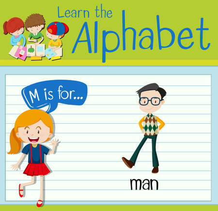 adults learning: Flashcard letter M is for man illustration