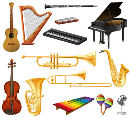 play yoyo: Different types of musical instruments illustration