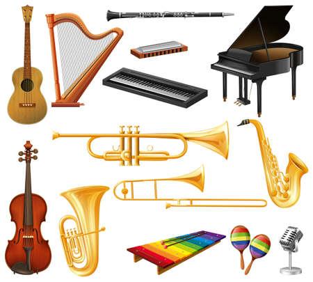 instrumentos musicales: Los diferentes tipos de instrumentos musicales ilustración