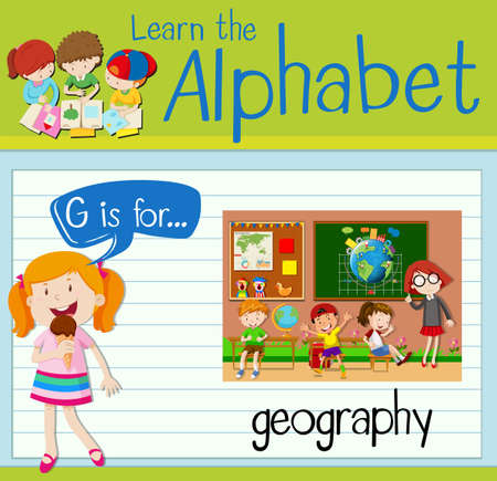 geography: Flashcard letter G is for geography illustration
