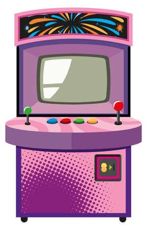 máquina de juego de arcade en el rectángulo de la ilustración de color púrpura