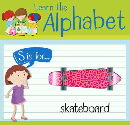 children s art: Flashcard alphabet S is for skateboard illustration