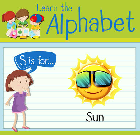 kid s illustration: Flashcard letter S is for Sun illustration Illustration