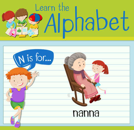 Flashcard letter N is for nanna illustration