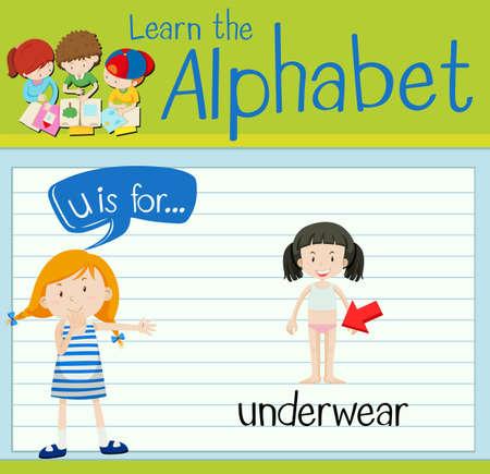 young girl underwear: Flashcard letter U is for underwear illustration Illustration