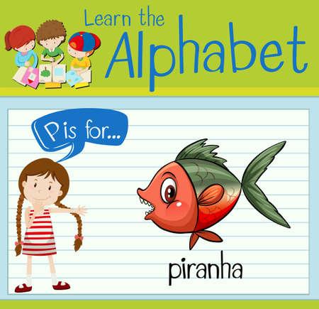 p illustration: Flashcard alphabet P is for piranha illustration