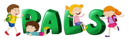pals: Font design for word pals illustration