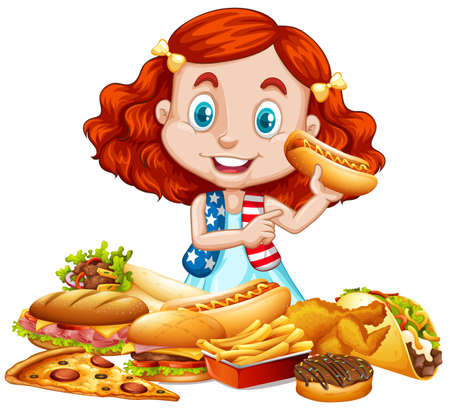 american food: American girl and American food illustration