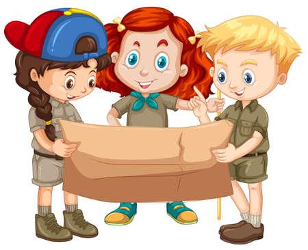 Three kids looking at map illustration