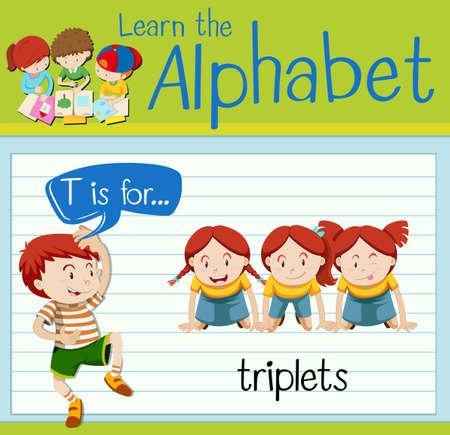 triplets: Flashcard letter T is for triplets illustration Illustration